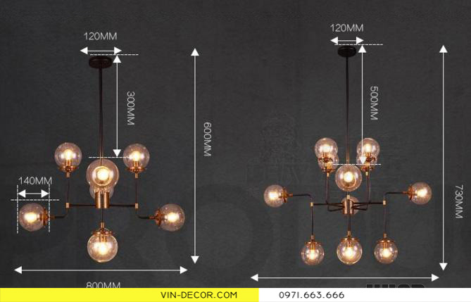 đèn chùm hiện đại artisan 6