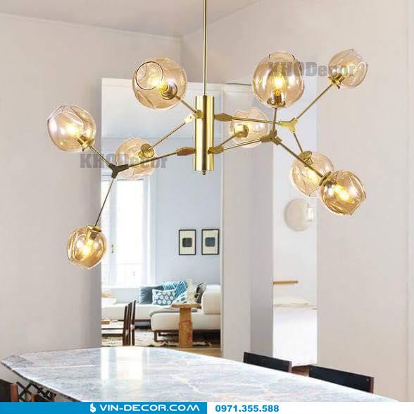 đèn adel bubble khung màu vàng 02