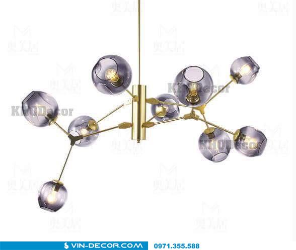đèn adel bubble khung màu vàng 03