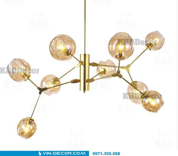đèn adel bubble khung màu vàng 04