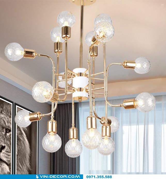 đèn chùm hiện đại mạ vàng đẳng cấp tinh xảo 06
