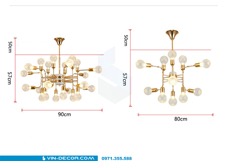 đèn chùm hiện đại mạ vàng đẳng cấp tinh xảo 08