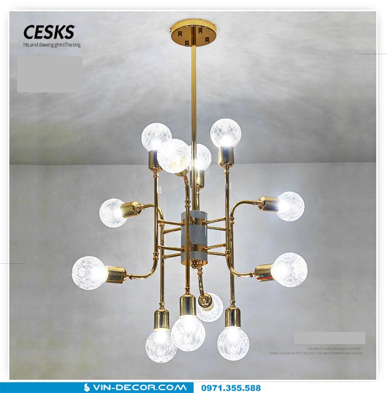 đèn chùm hiện đại mạ vàng đẳng cấp tinh xảo 10