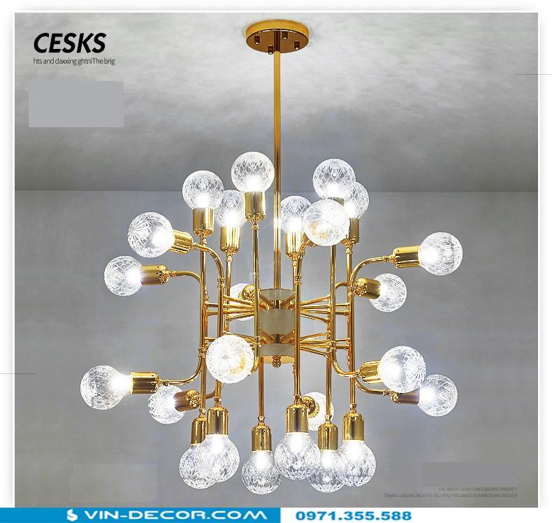 đèn chùm hiện đại mạ vàng đẳng cấp tinh xảo 12