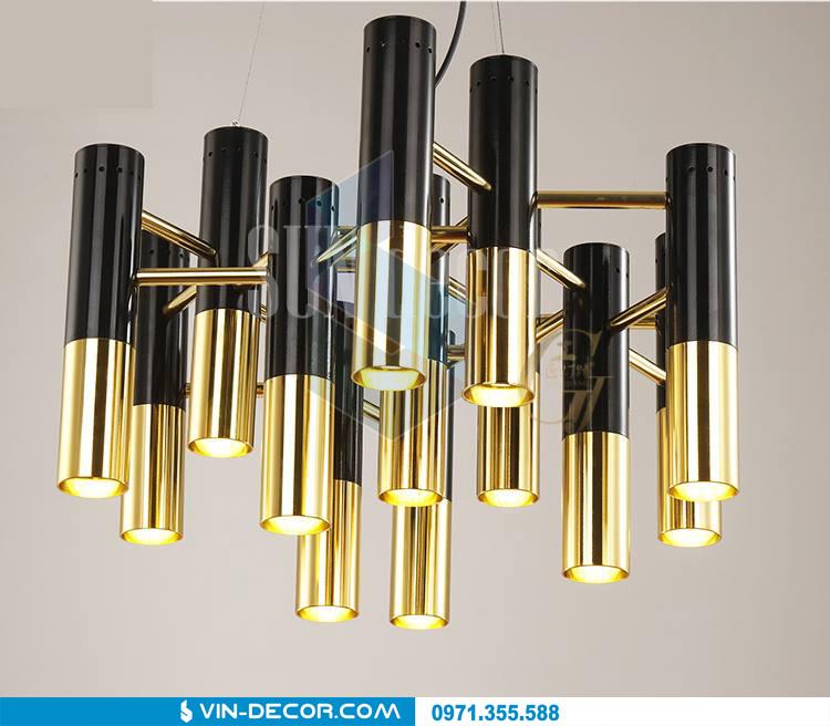 đèn chùm hình ống mạ vàng 01
