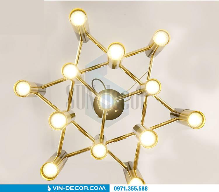 đèn chùm hình ống mạ vàng 02