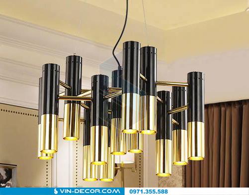 đèn chùm hình ống mạ vàng 03