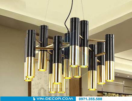 đèn chùm hình ống mạ vàng 04