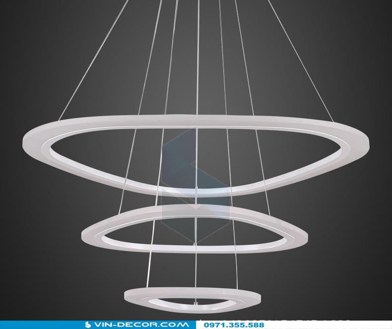 đèn led thả trần hình tròn 3 vòng dl 07 3