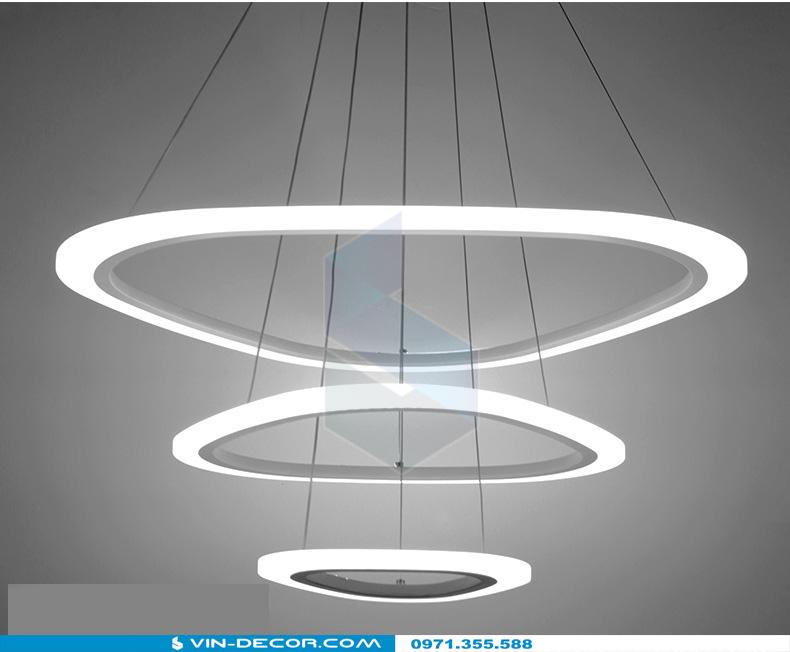 đèn led thả trần hình tròn 3 vòng dl 07 5