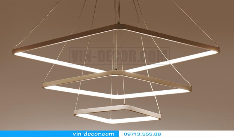đèn led thả trần hình vuông 3 vòng đẹp 01
