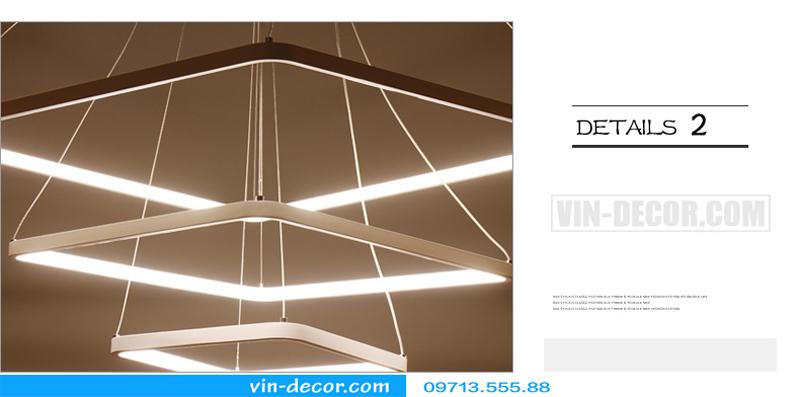 đèn led thả trần hình vuông 3 vòng đẹp 04