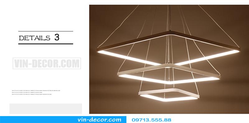 đèn led thả trần hình vuông 3 vòng đẹp 05