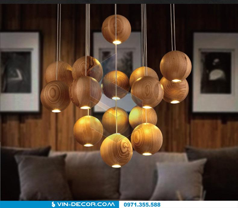 đèn thả quầy bar bocci gỗ 01
