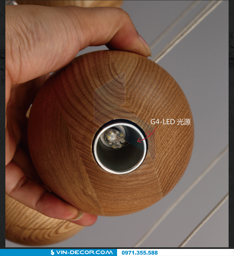 đèn thả quầy bar bocci gỗ 06