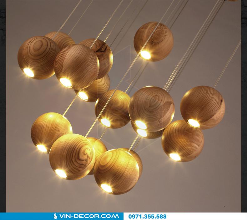 đèn thả quầy bar bocci gỗ 09