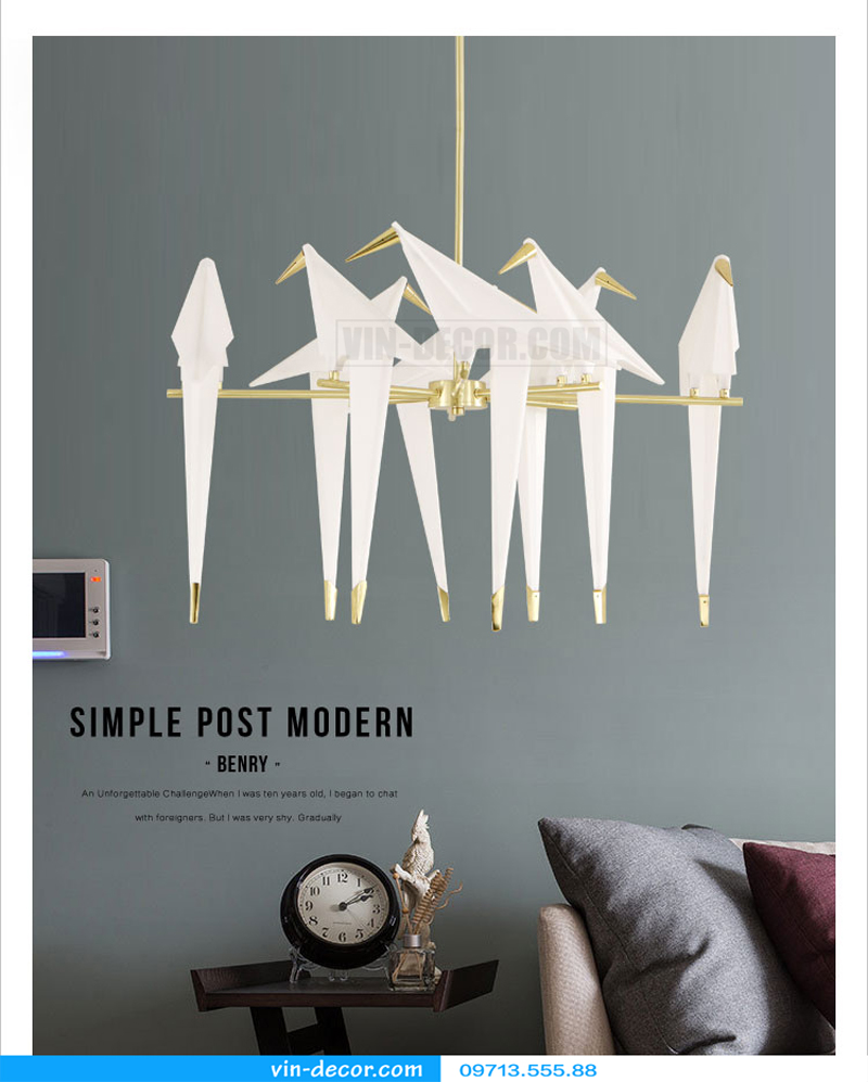 đèn chim trang trí phòng khách 01