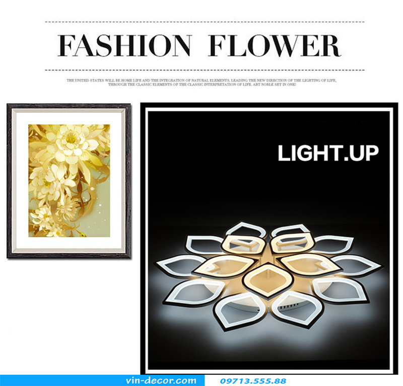 đèn led ốp trần hình cánh hoa 18