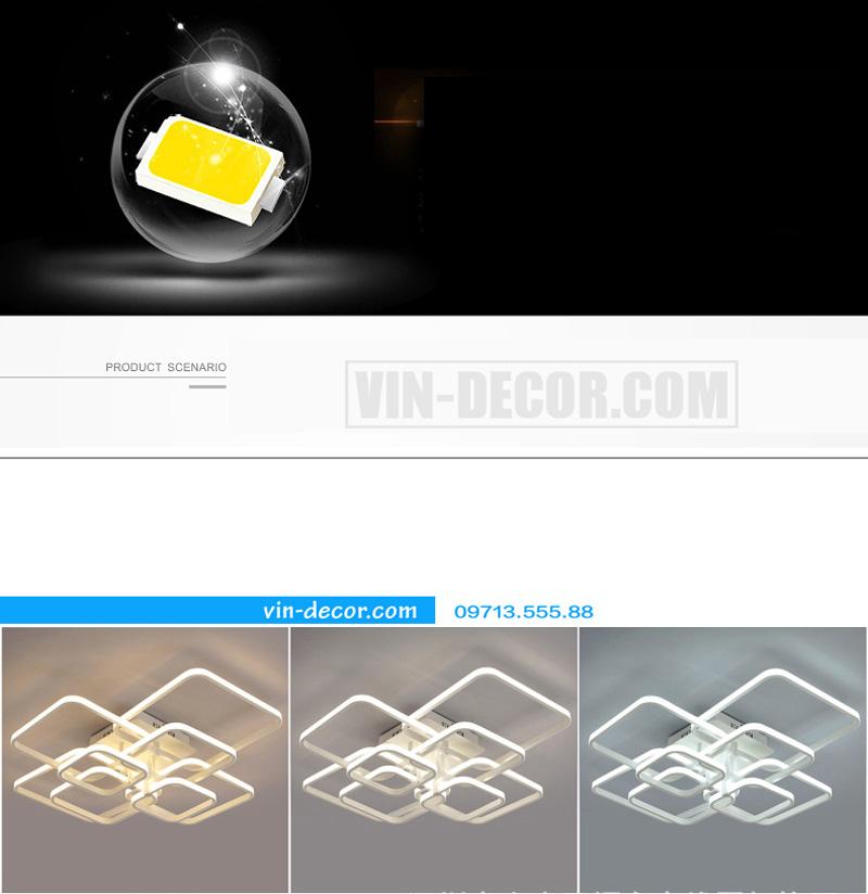 đèn led ốp trần hình vuông ấn tượng 05
