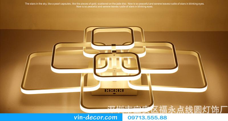 đèn led ốp trần hình vuông ấn tượng 08