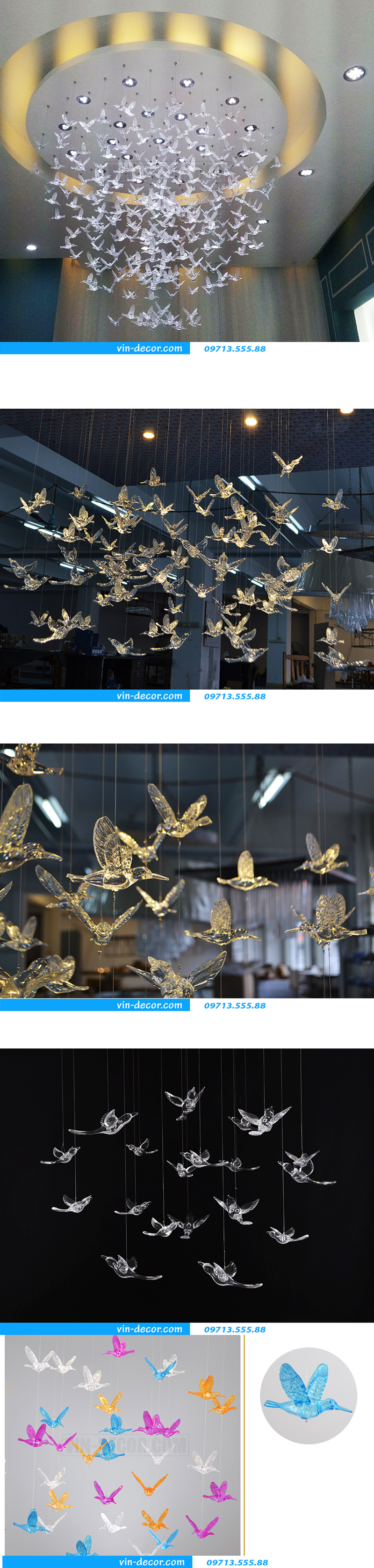 chim thả trần trang trí nội thất ấn tượng 01