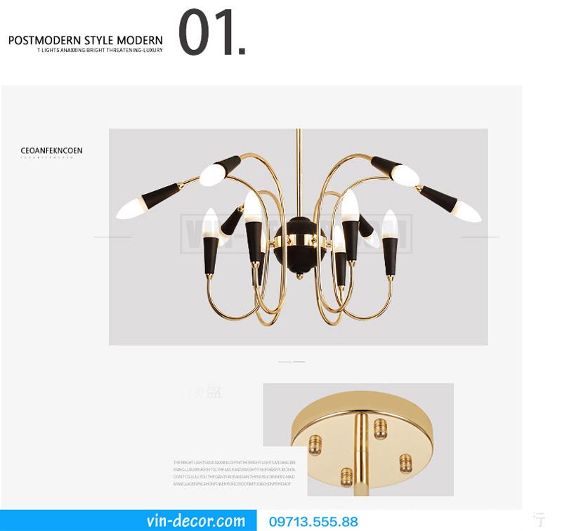 đèn chùm nghệ thuật swan retro 10
