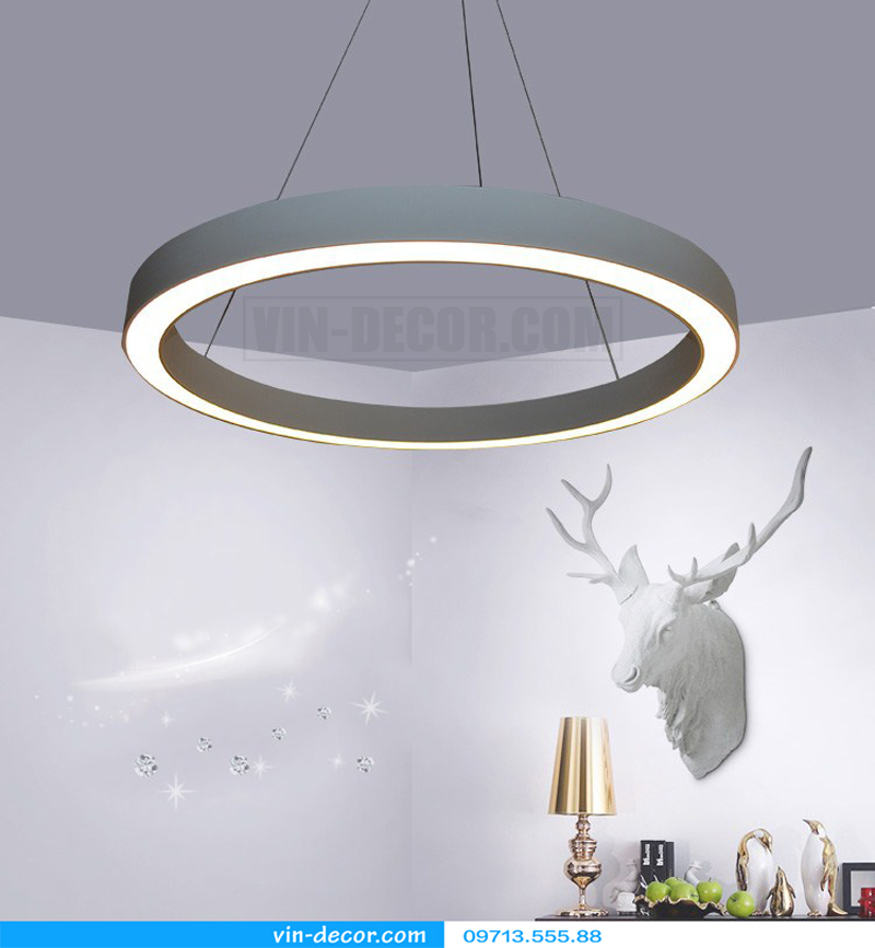 đèn led 1 vòng viền trắng hiện đại 01
