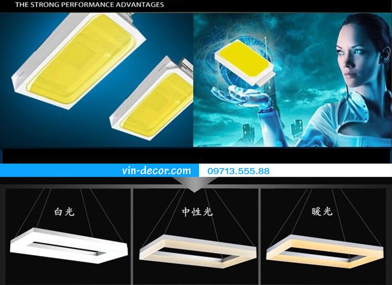 đèn led 3 vòng vuông hiện đại 04
