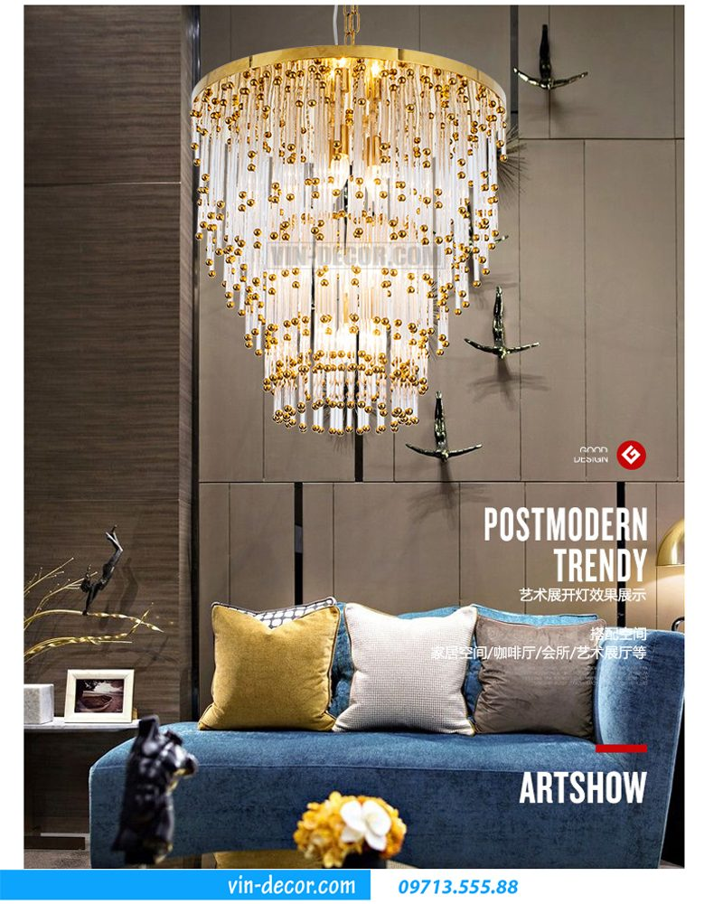 đèn chùm trang trí phòng khách MD 015 06
