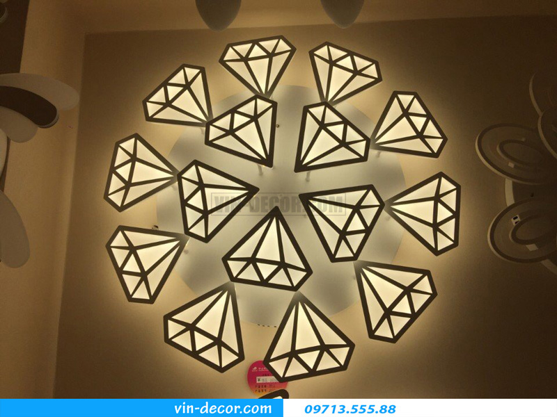 đèn led ốp trần hình kim cương md 1272