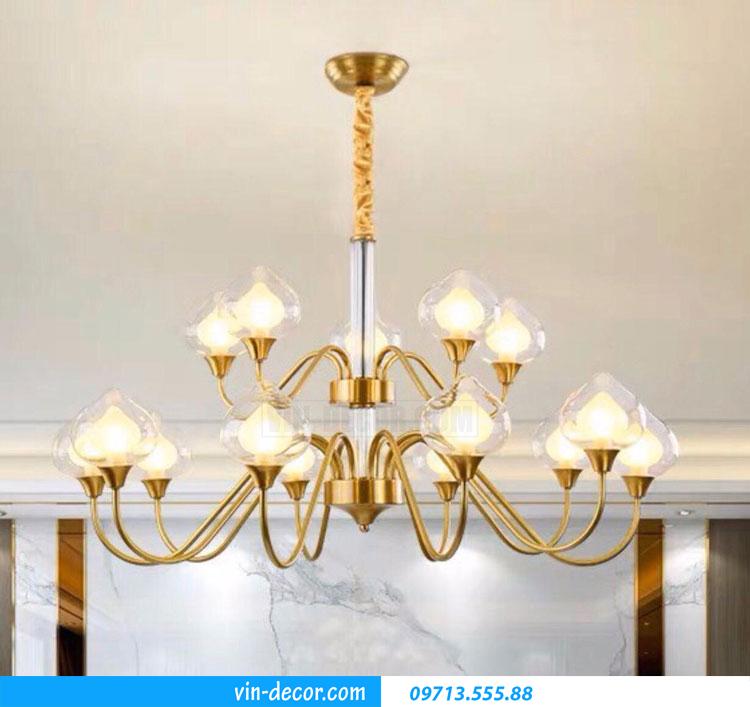 đèn chùm pha lê thân đồng cao cấp MDU 007
